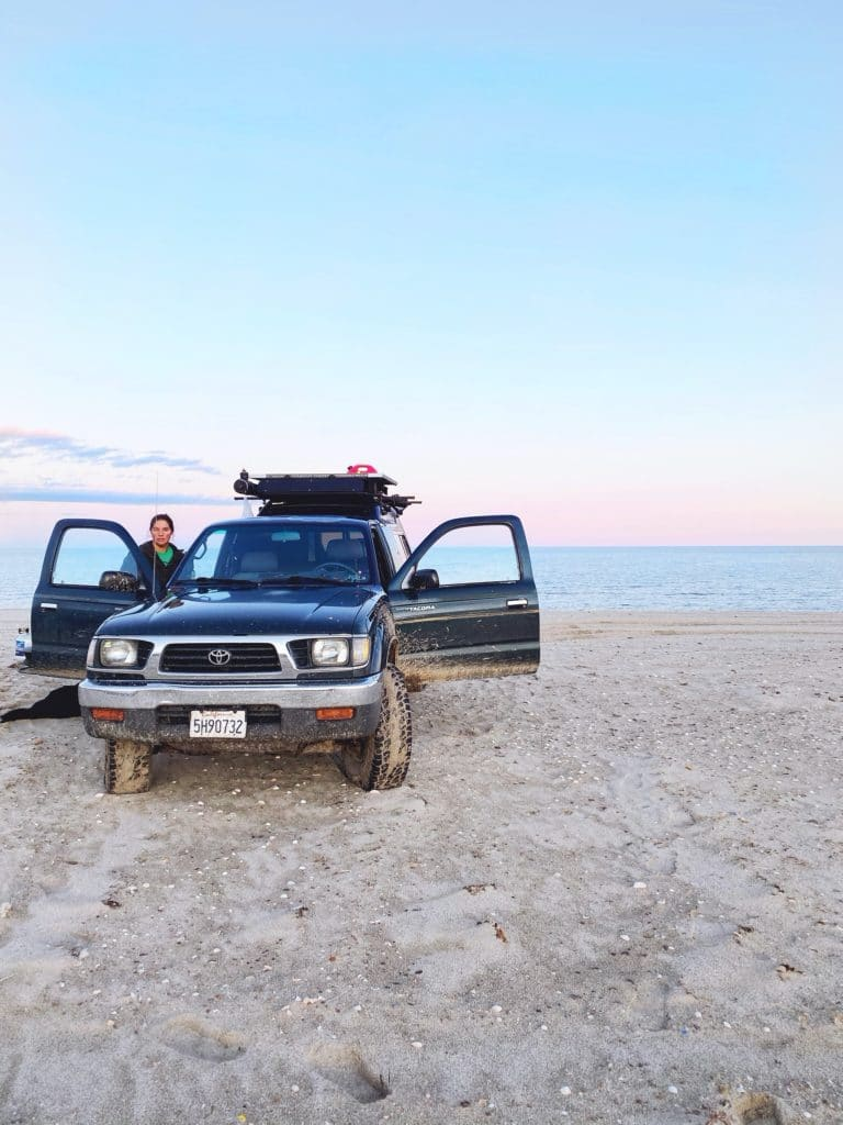 liz and the truck by the water
