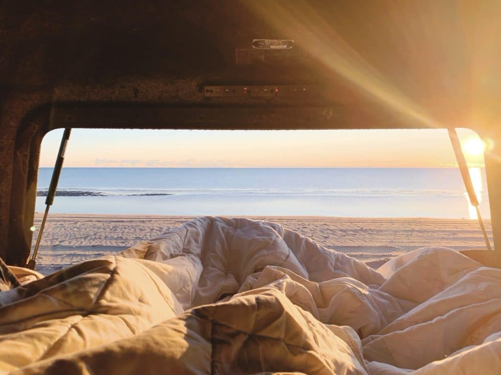 feet out the truck for sunrise